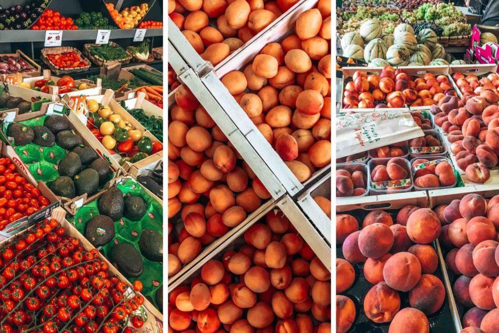 Frisches Obst und Gemüse auf dem Markt von Hossegor