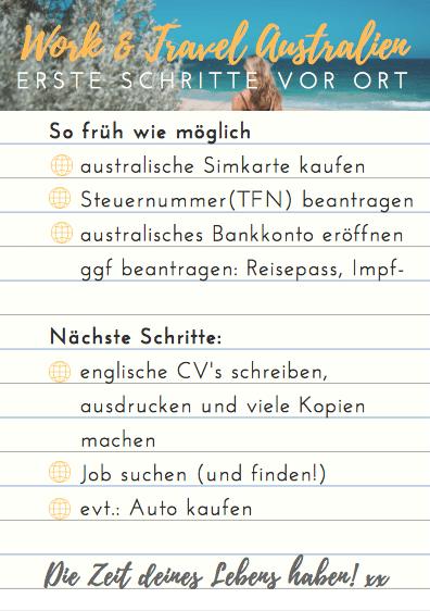 Work And Travel In Australien Selbst Organisieren Checkliste