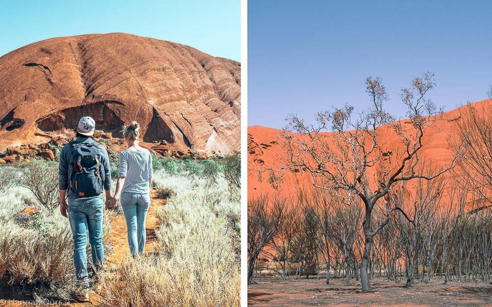 Wanderung um den Ayers Rock, ein Highlight des Roadtrips durch Australiens Outback
