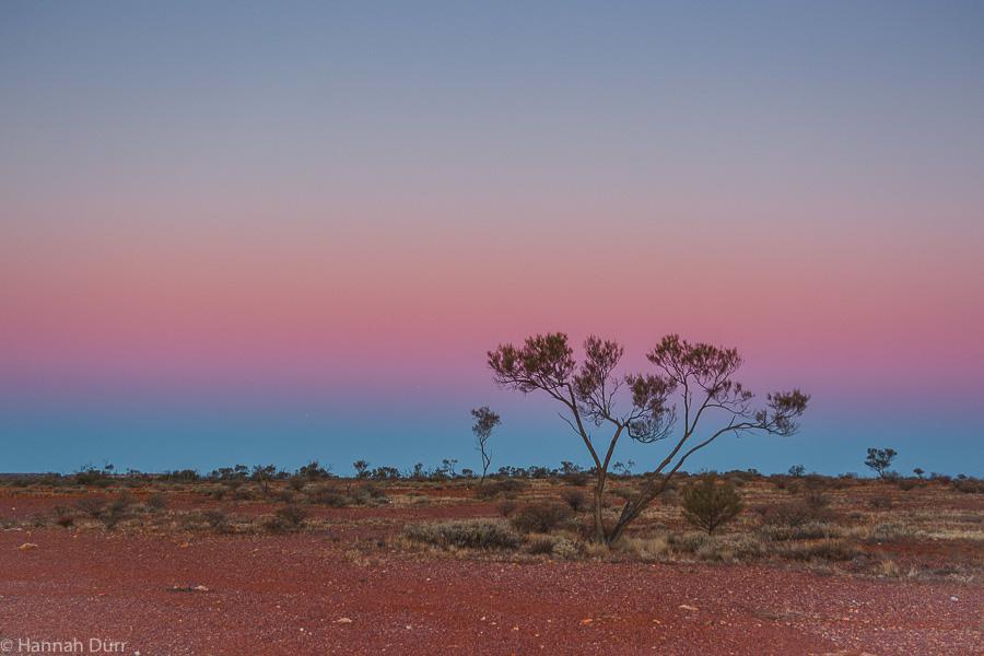 Farbenprächtiger Sonnenuntergang im Outback in Australien