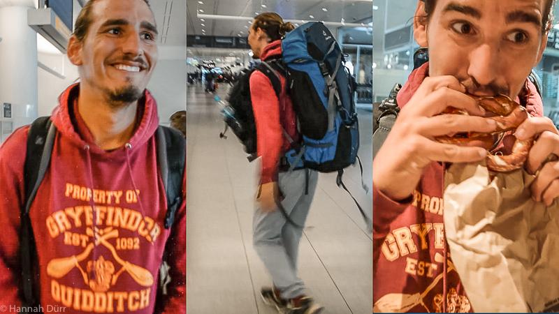Aufgeregter Adrian am Flughafen