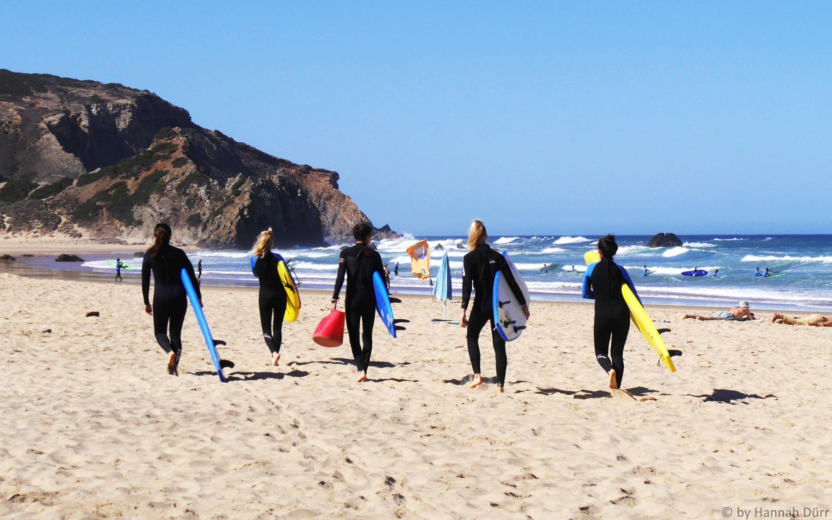Surfunterricht in Sabres, Portugal