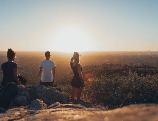 Sonnenuntergang über Perth von den Perth Hills
