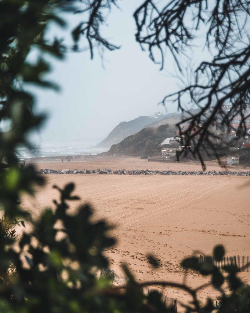 Blick von der Küste auf den Bidart Plage