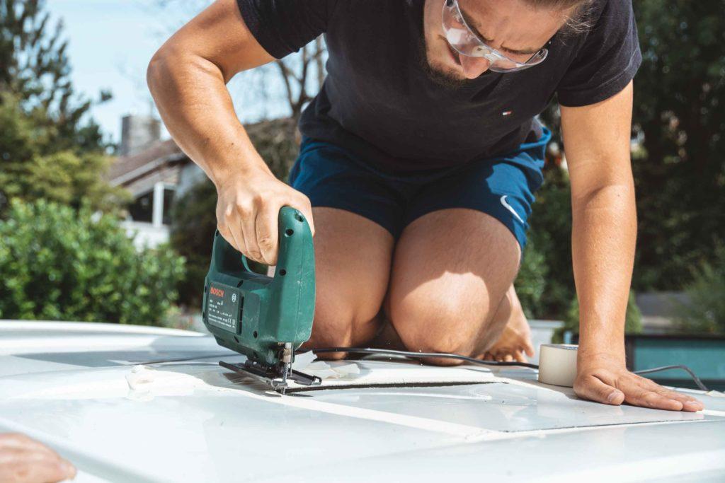 dachluke im campervan selbst einbauen