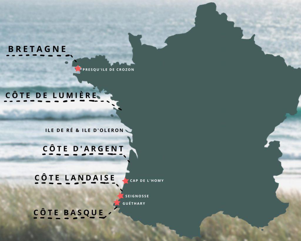 Karte mit den besten Surfspots an Frankreichs Atlantikküste - die verschiedenen Regionen zum Surfen